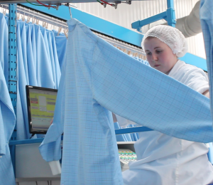 Checking garments in our cleanroom