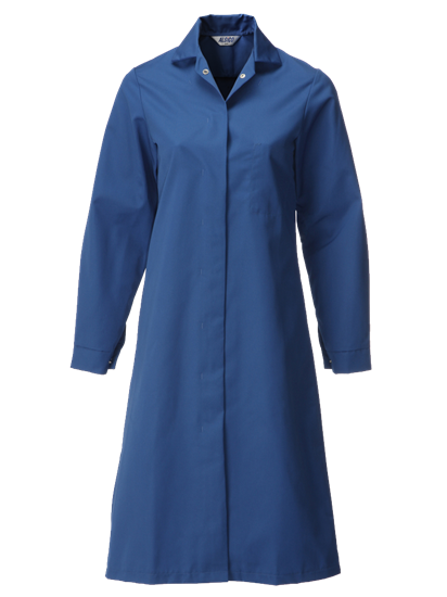 blue food trade coat